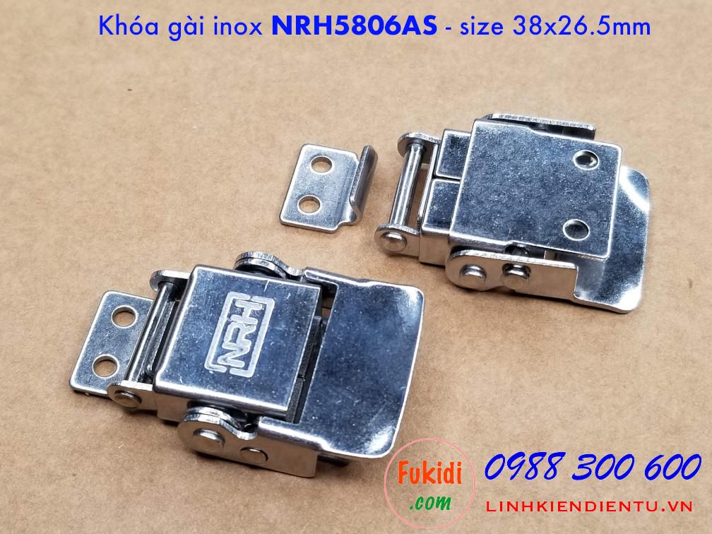 Chi tiết của cả hai mặt của khóa gài, khóa hộp gỗ, inox NRH5806AS