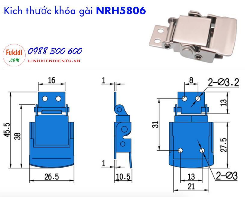 Chi tiết về kích thước của khóa gài Khóa gài, khóa hộp gỗ NRH5806AS
