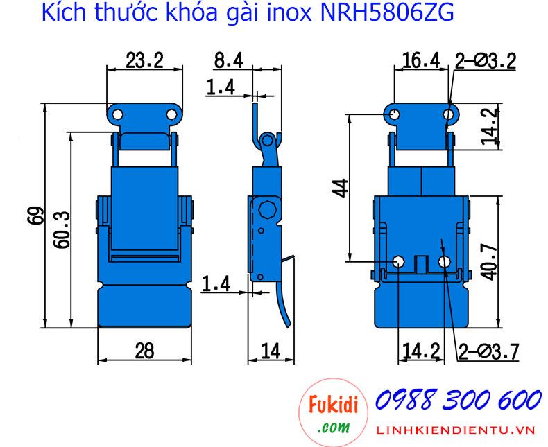 Chi tiết kích thước của khóa gài hộp gỗ NRH5806ZG