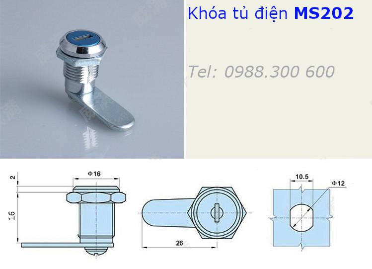 Chi tiết kích thước của khóa tủ điện mini MS202-16