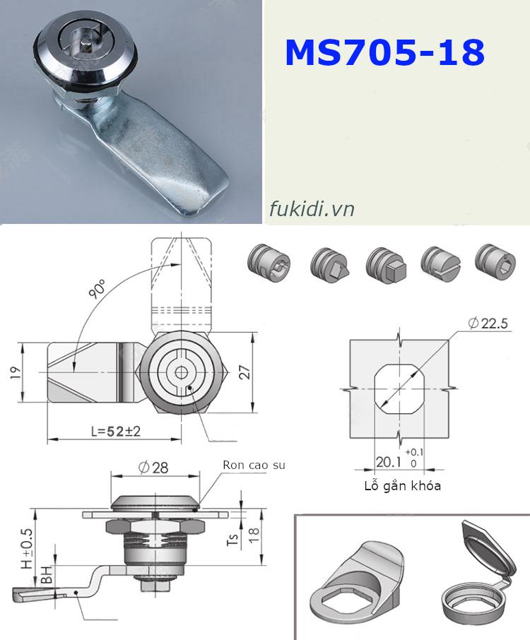 Chi tiết kích thước của khóa tủ điện họ MS705-18 inox 304