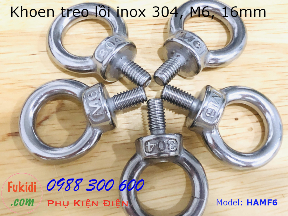 Khoen treo, móc treo inox 304, kích thước M6 HAM6