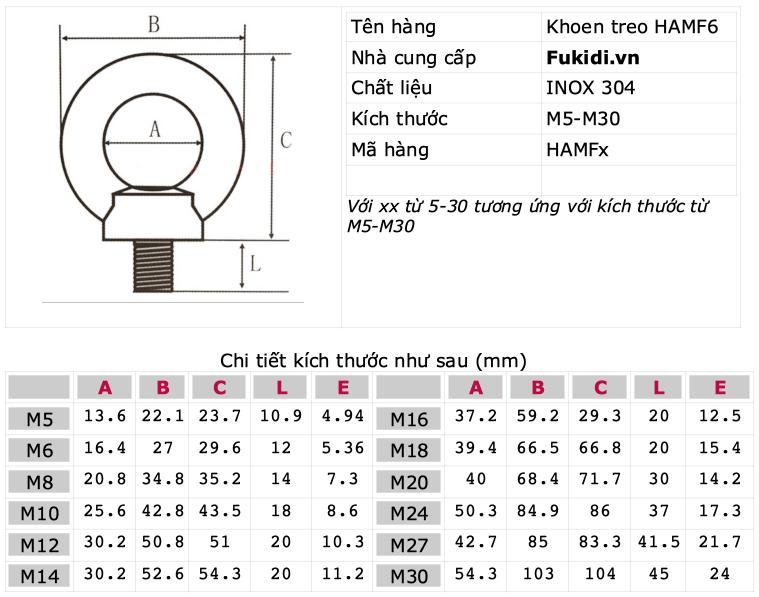 Khoen treo, móc treo inox 304, kích thước M6 HAMF6
