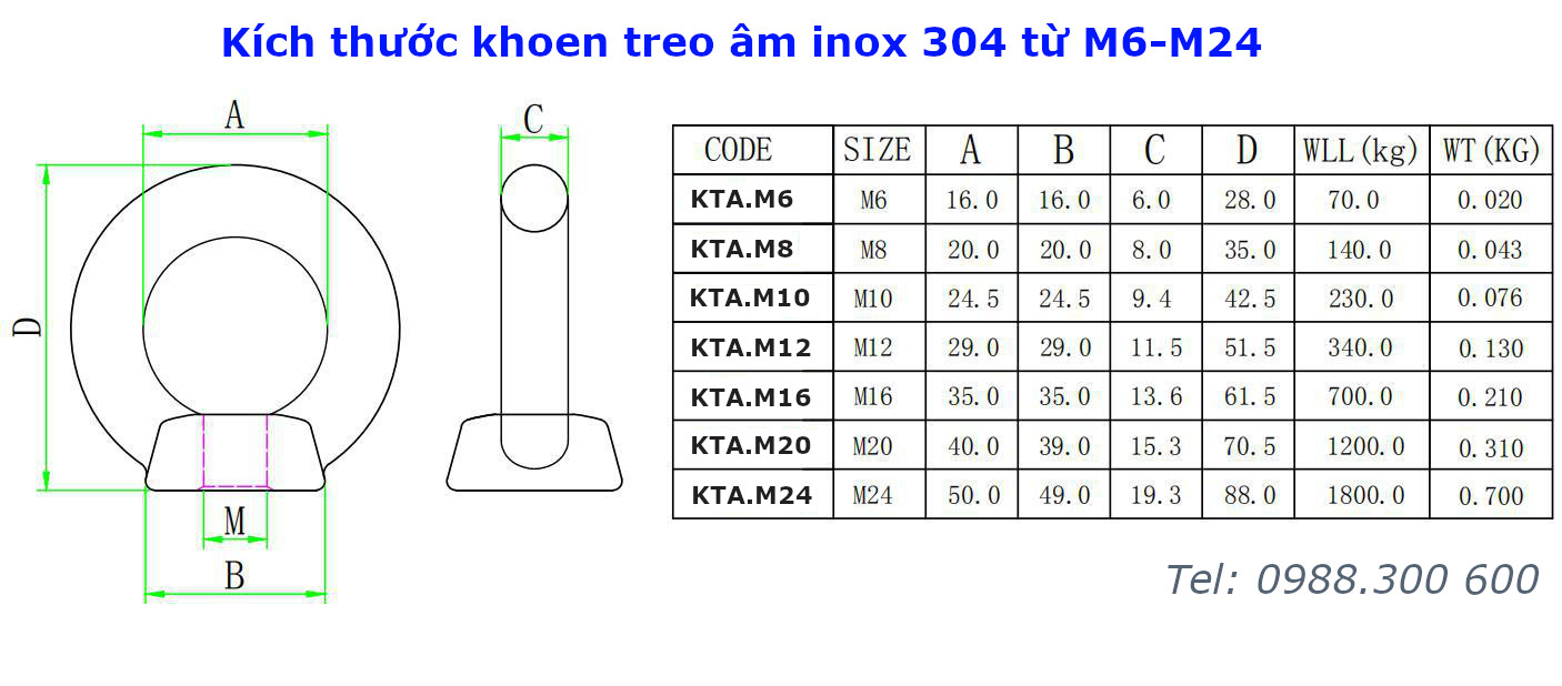 Khoen treo âm inox 304 size M12 - KTA.M12