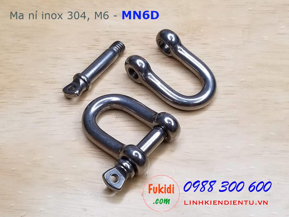 Ma ní inox hình chữ D, kiểu ren vặn size M6 model MN6D