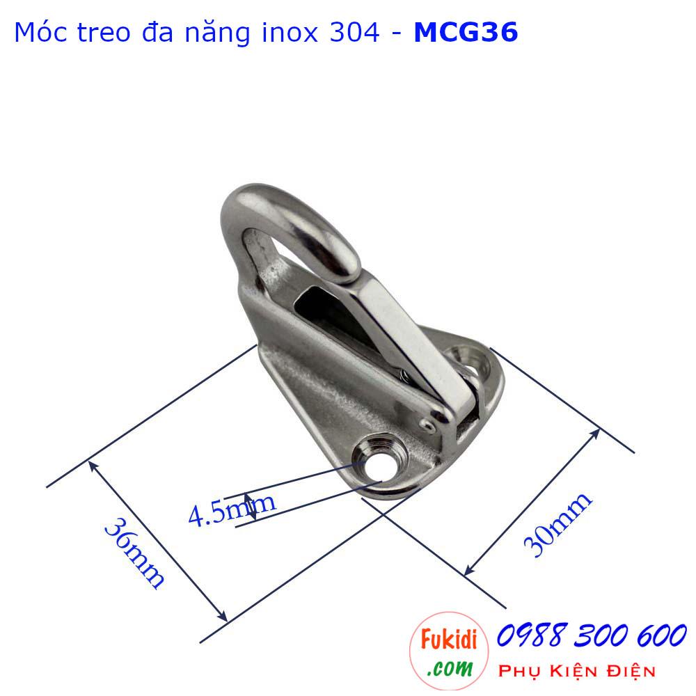 Móc cổ ngỗng, móc treo đa năng inox 304 kích thước 30x36mm - MCG36