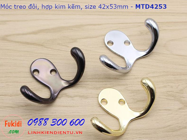 Móc treo đôi chất liệu hợp kim kẽm mạ crome kích thước 42x53mm - MTD4253