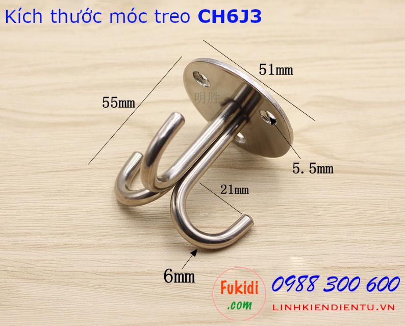 Móc treo quạt, đèn trang trí lên trần nhà size 55x51mm - CH6J3