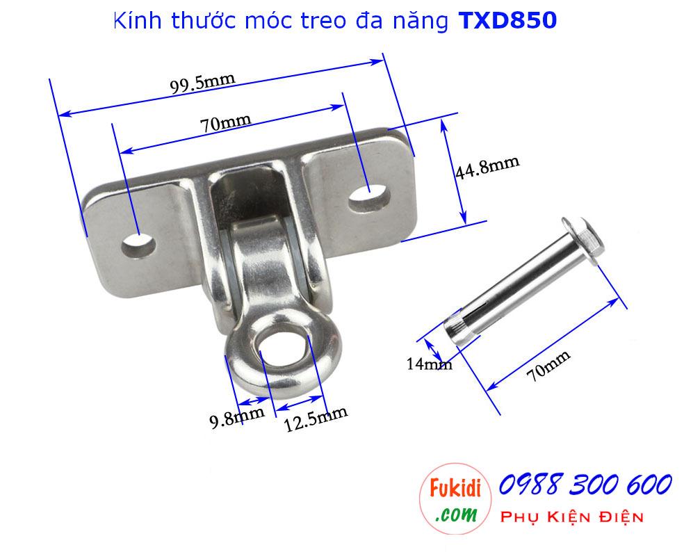 Chi tiết kích thước móc treo đa năng, móc treo trần nhà inox 304 tải trọng 850kg - TXD850