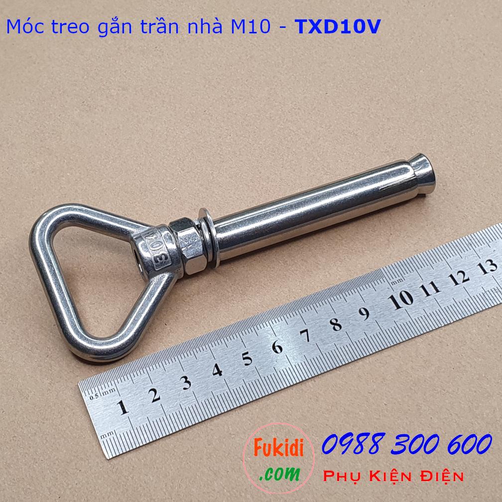 Móc treo trần bê tông chữ V, inox 304 size M10 tải 145kg - TXD10V