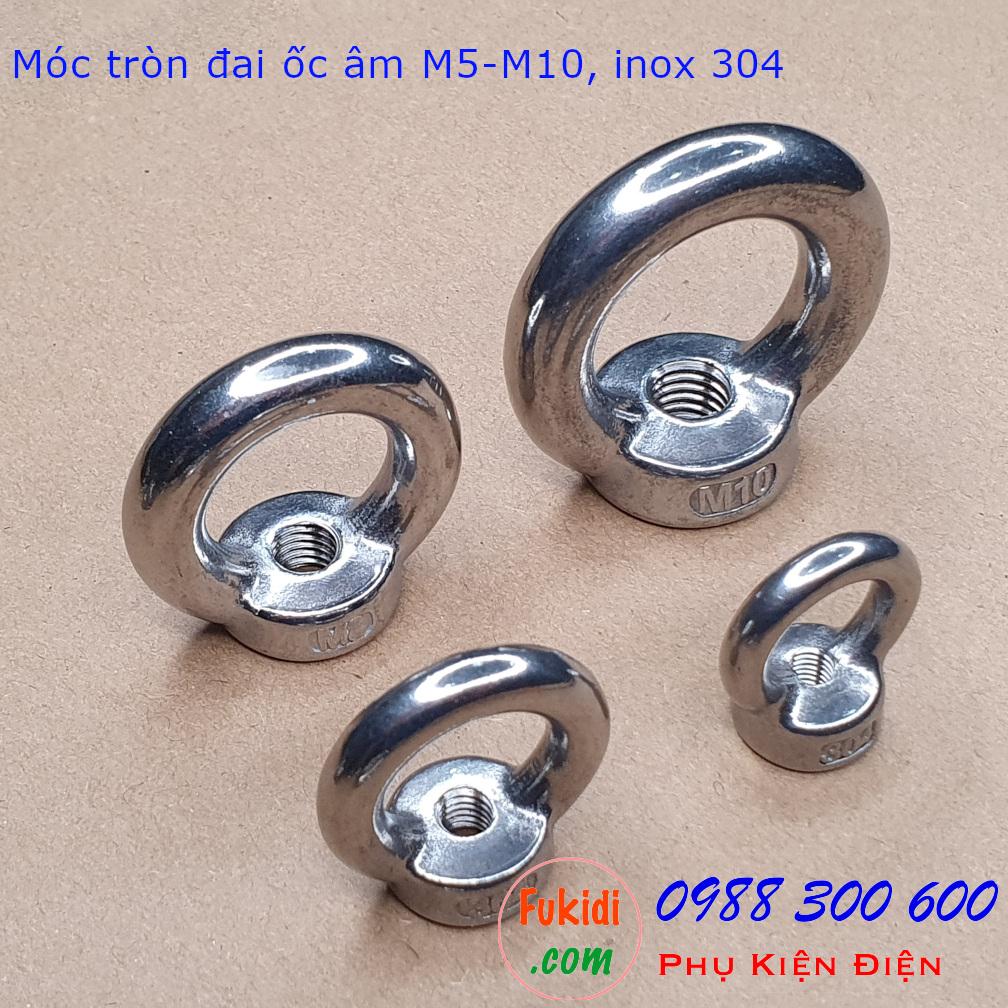 Hình ảnh móc tròn đai ốc hay móc cẩu đai ốc âm inox 304 kích thước từ M5 đến M10