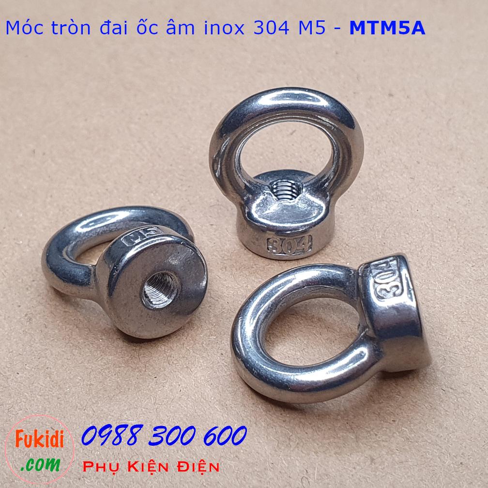 Móc tròn đai ốc, móc cẩu đai ốc âm inox 304 size M5 tải trọng 45kg - MTM5A