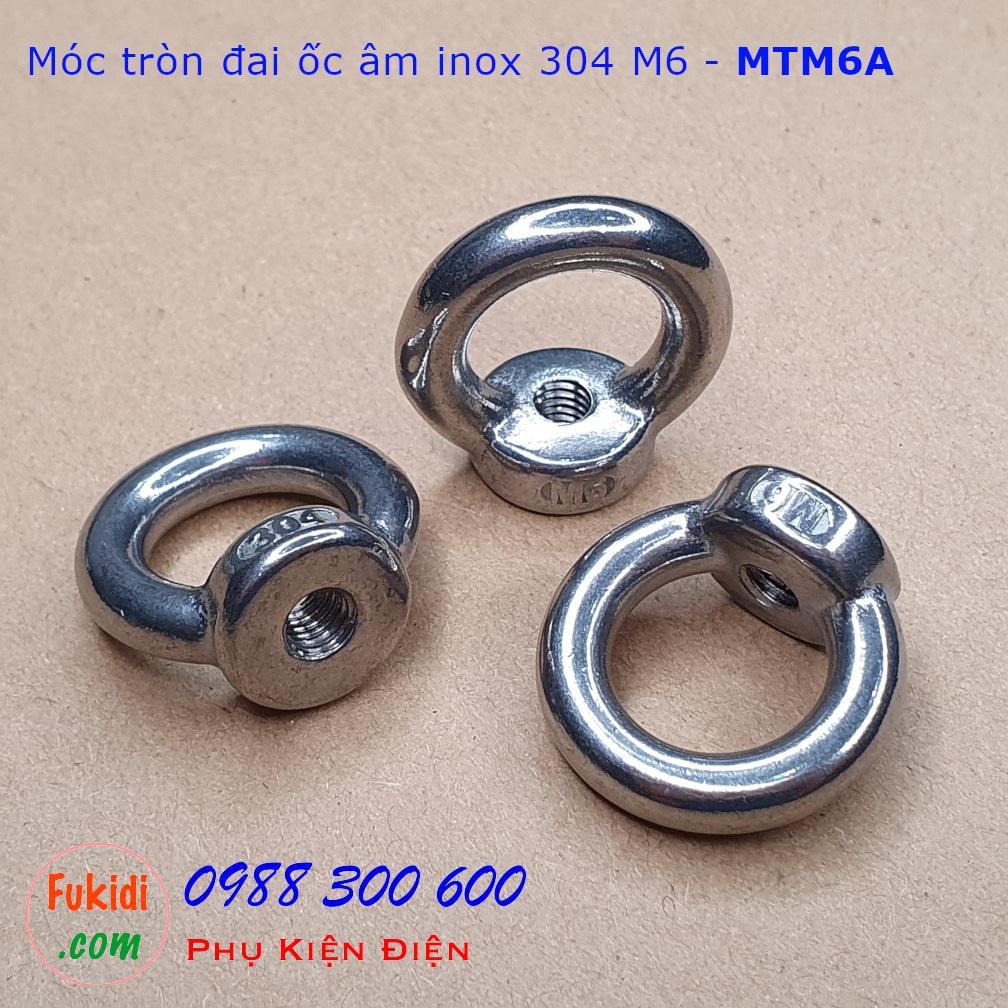 Móc tròn đai ốc, móc cẩu đai ốc âm inox 304 size M6 tải trọng 70kg - MTM6A