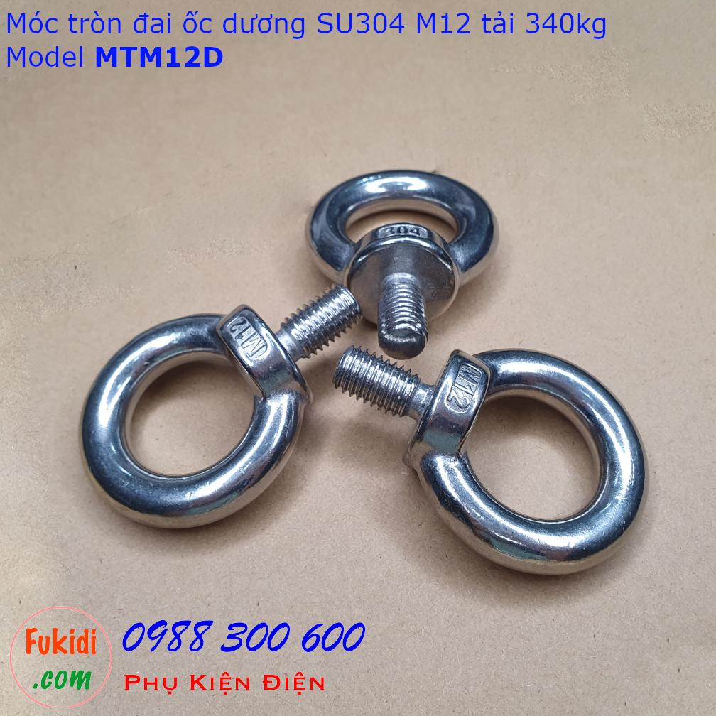 Móc tròn đai ốc, móc cẩu đai ốc dương inox 304 M12 tải 340kg - MTM12D