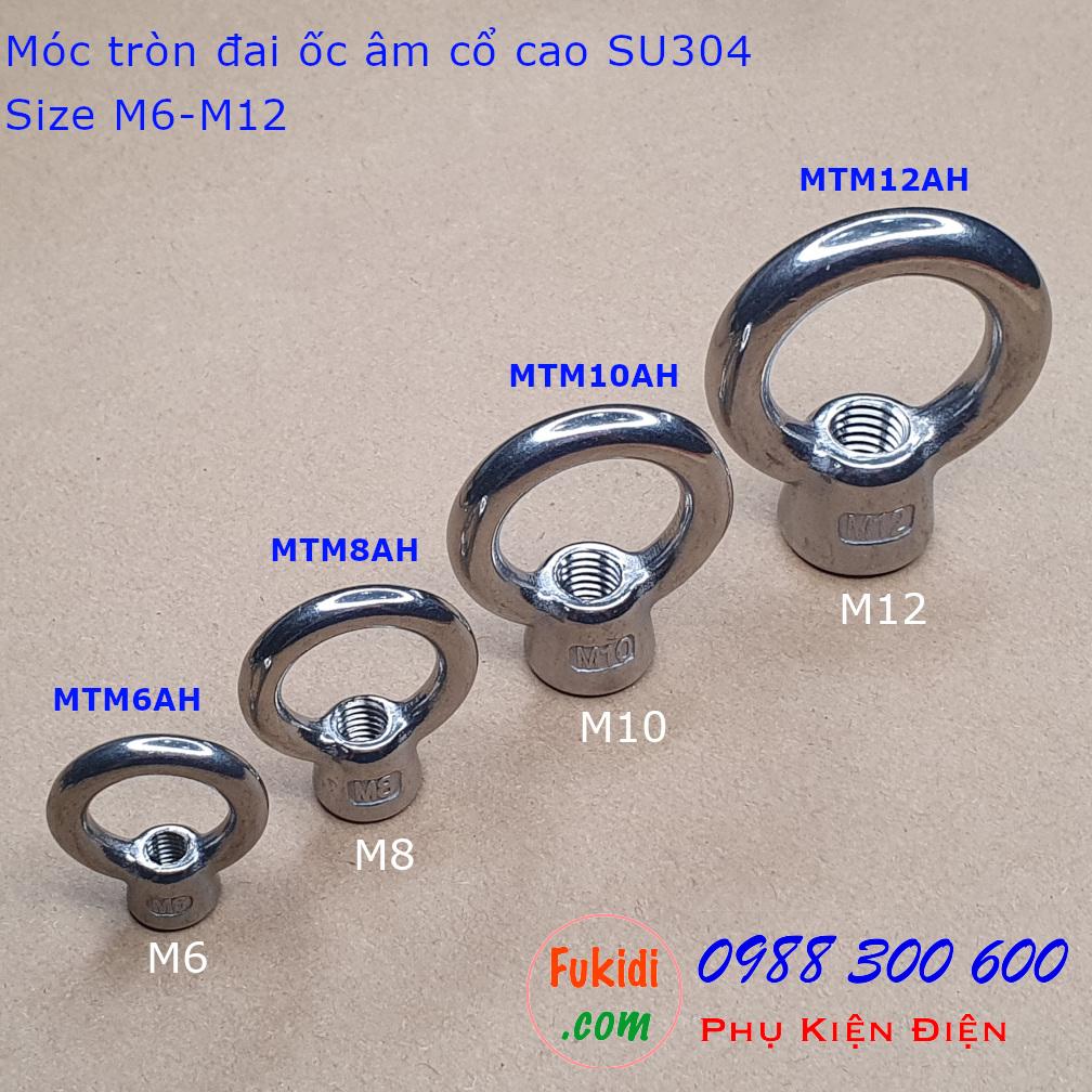 Hình ảnh bốn loại móc tròn đai ốc, móc cẩu đai ốc âm inox 304 cổ cao từ M6 - M12