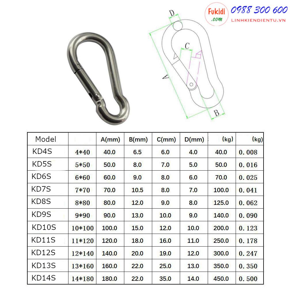 KD5S là móc dây an toàn hay khóa nối dây xích, dây cáp treo, chất liệu inox 304 cao cấp, kích thước M5 lực kéo tối đa 50kg, dùng làm móc nối dây cáp, móc nối dây xích thú nuôi