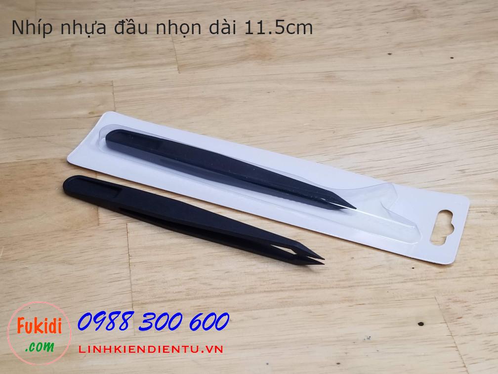 Nhíp nhựa đa năng, đầu nhọn chiều dài 11.5cm màu đen