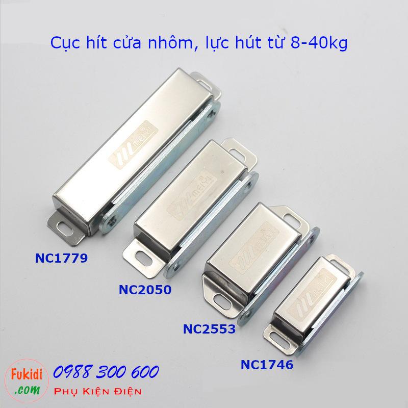 Hình ảnh bốn loại cục hít cửa tủ có lực hút từ 8-40kg là NC1746, NC2553, NC2050 và NC1770