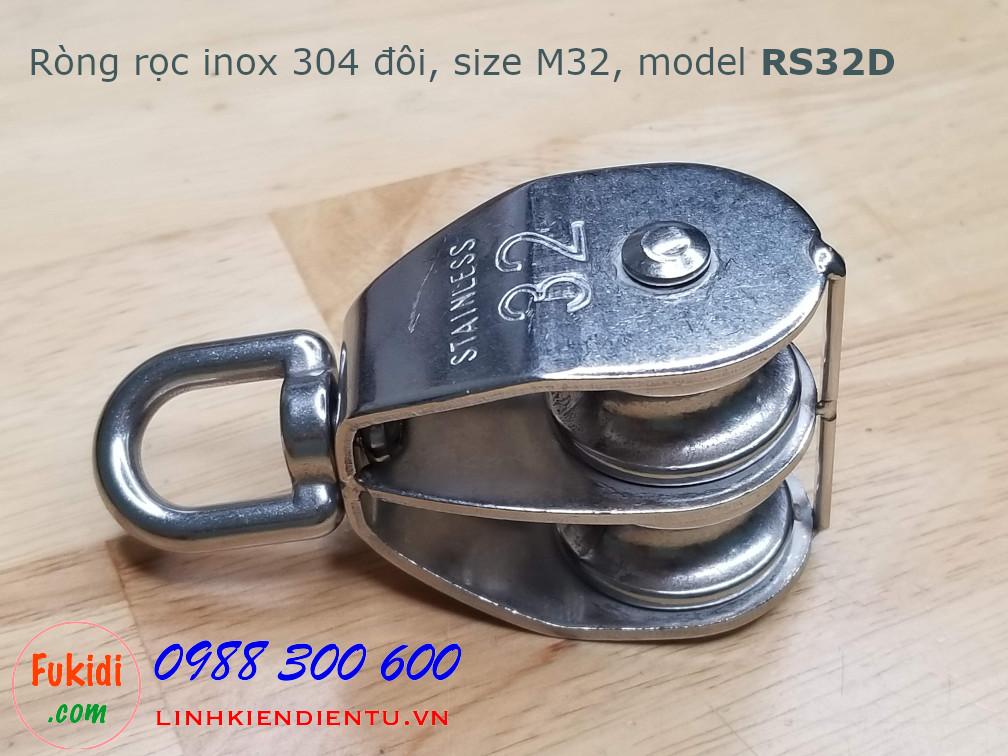 Ròng rọc đôi inox 304, kích thước M32, tải trọng 250kg model RS32D