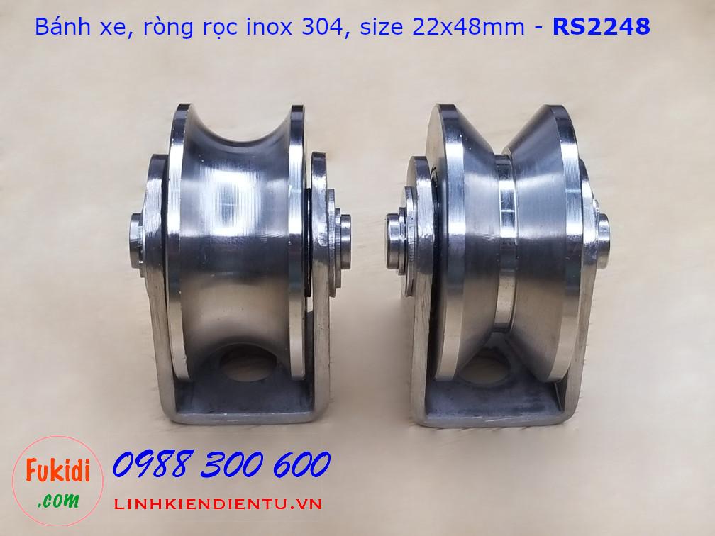 Ròng rọc, bánh xe cửa cổng rãnh V inox 304 size 22x48mm - RS2248V