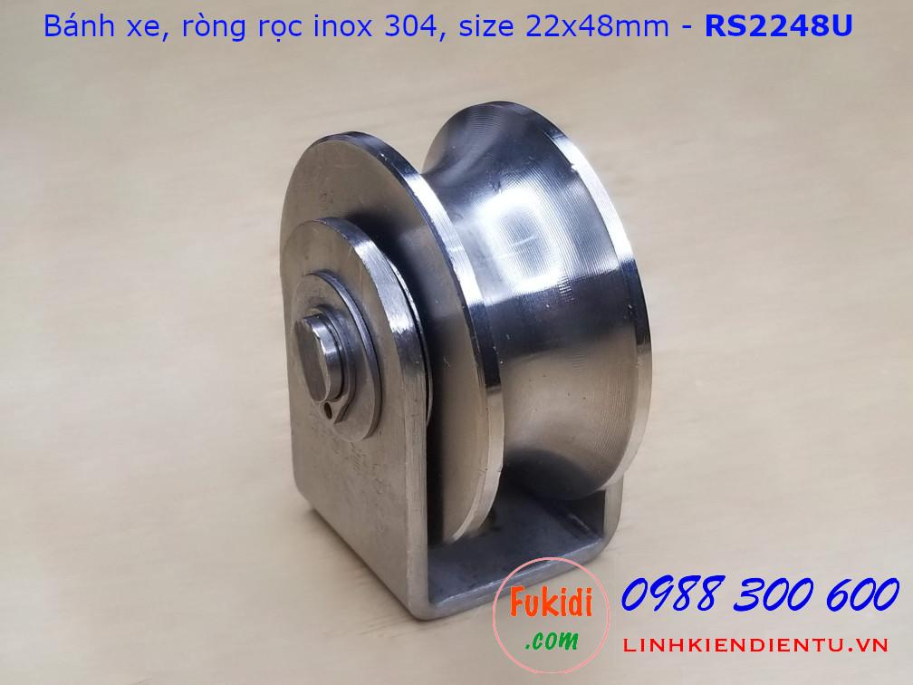 Ròng rọc, bánh xe cửa cổng, bánh xe định hướng inox 304 size 22x48mm - RS2248