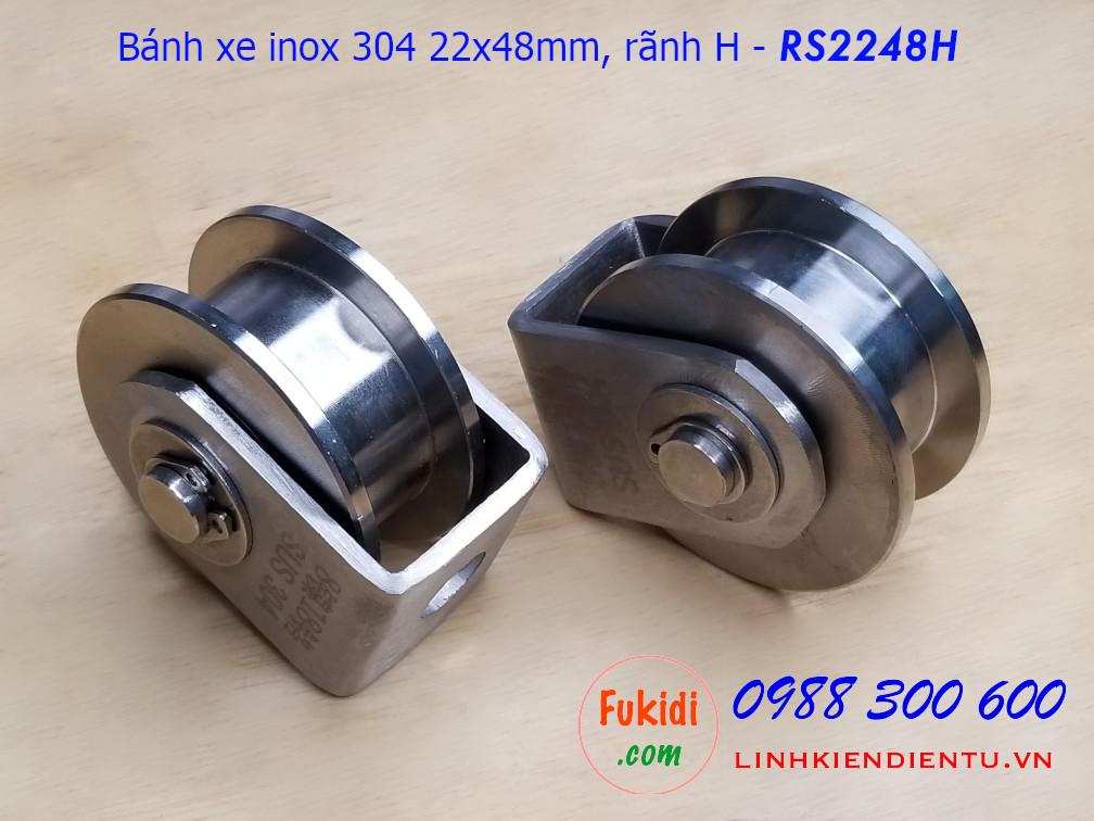 Ròng rọc, bánh xe cửa cổng rãnh H inox 304 size 22x48mm - RS2248H