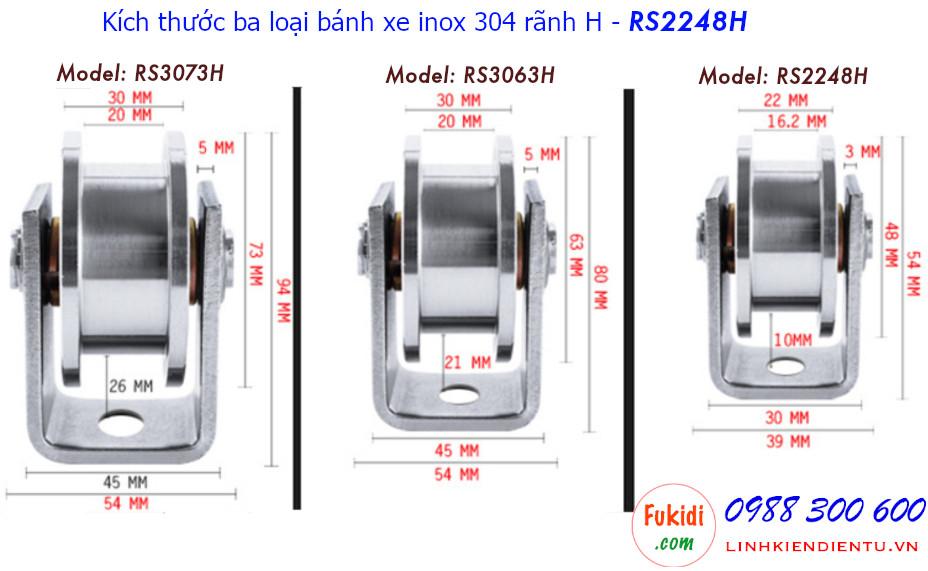 Kích thước chi tiết của bánh xe RS2248H