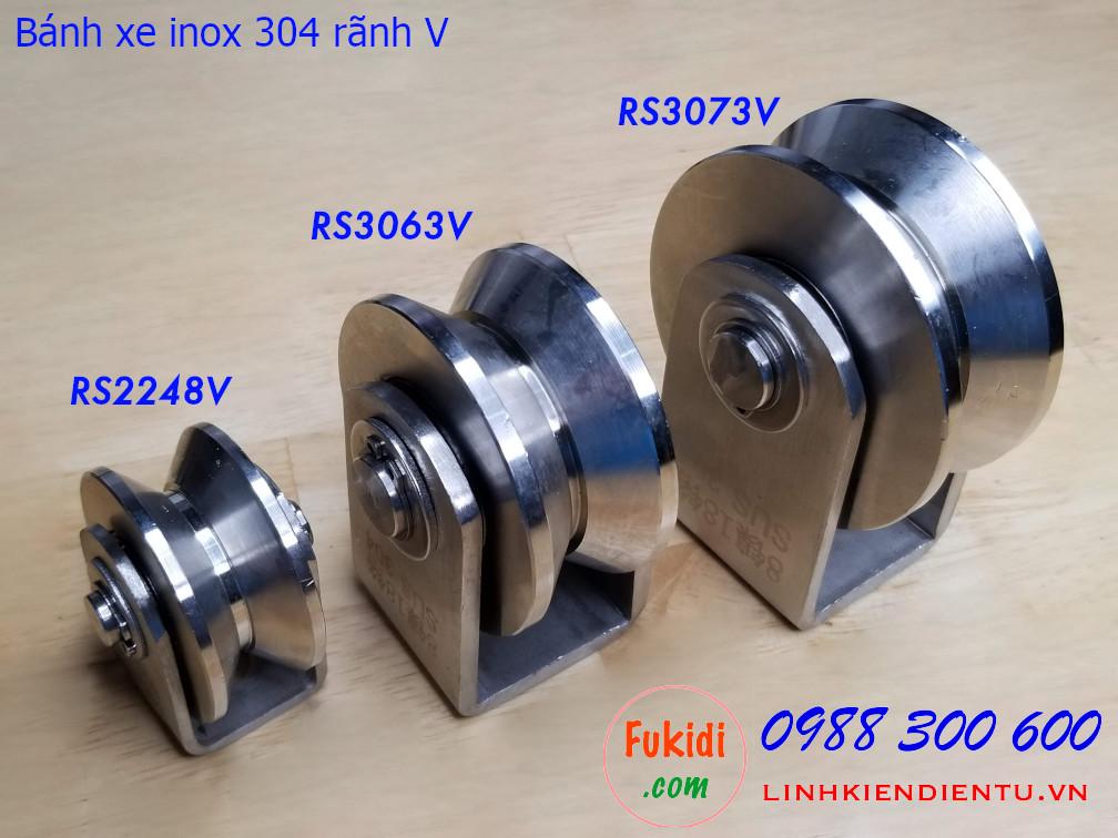 Ròng rọc, bánh xe ray V inox 304 size 30x63mm - RS3063V