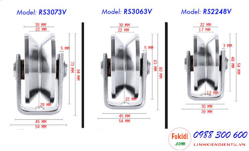Chi tiết kích thước của bánh xe ray v inox 304 RS2248V, RS3063V và RS3073V