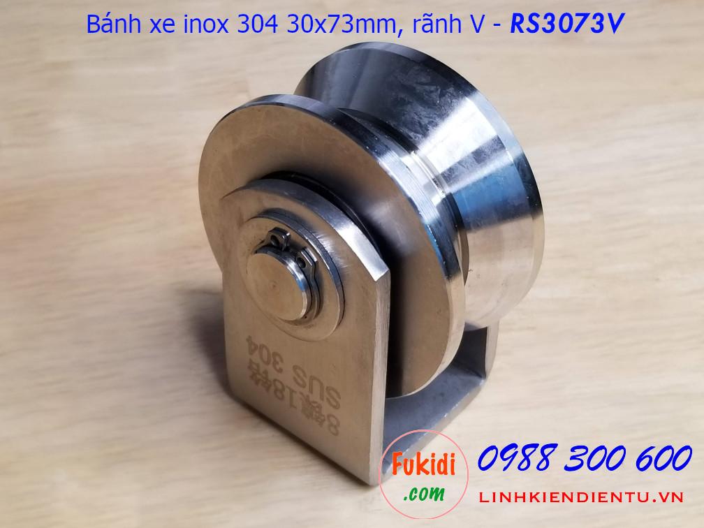 Ròng rọc, bánh xe ray V inox 304 size 30x73mm - RS3073V