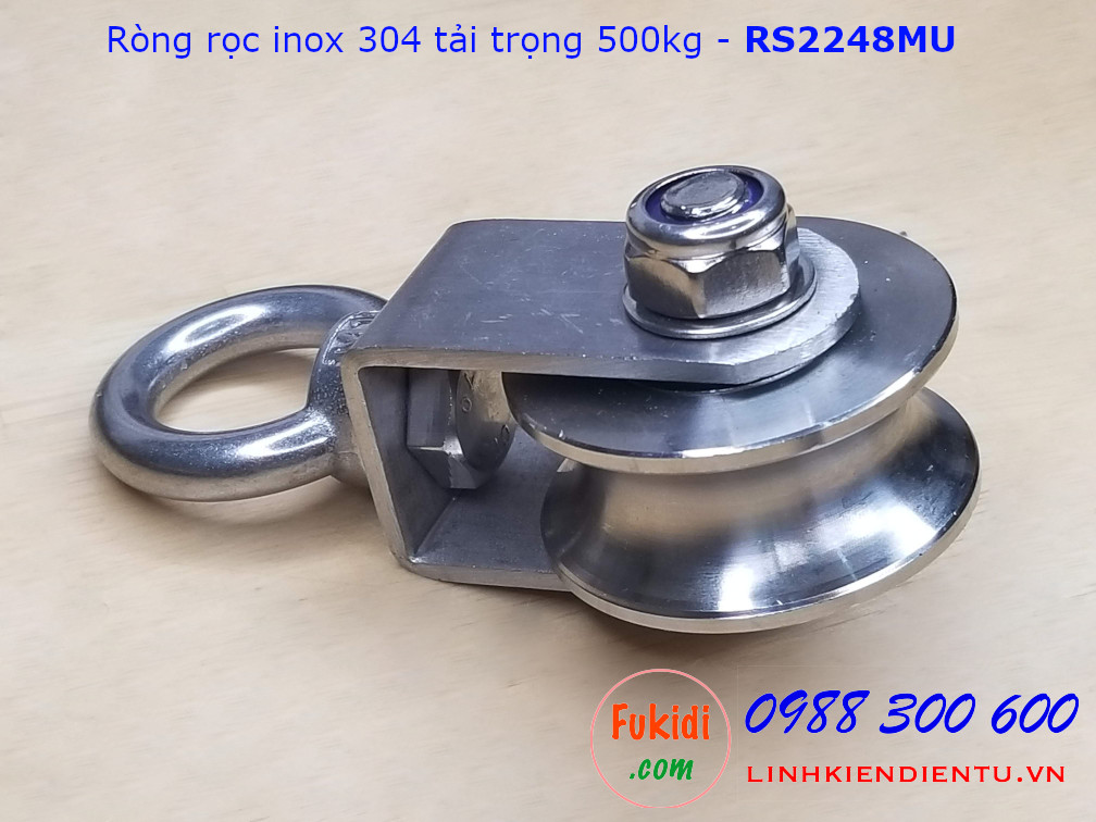 Ròng rọc inox 304 bánh xe bi 22x48mm dài 107mm tải trọng 500kg - RS2248MU
