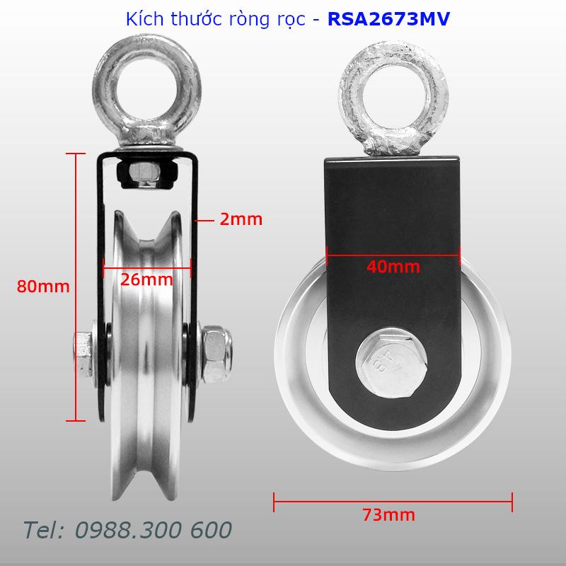Chi tiết kích thước của ròng rọc RSA2673MV