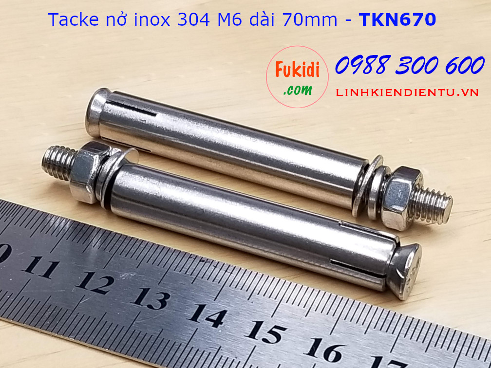 Tắc kê nở inox 304 M6 dài 70mm - TKN670