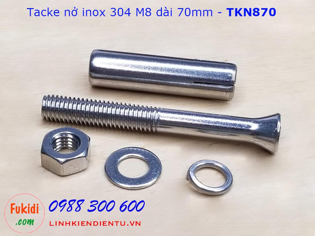 Tắc kê nở inox 304 M8 dài 70mm - TKN870