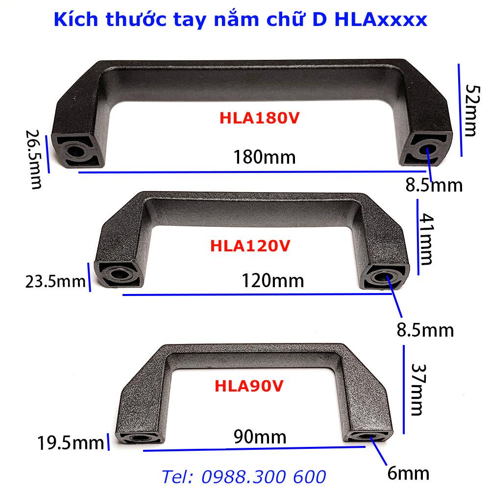 Chi tiết kích thước của tay nắm nhôm định hình, tay nắm chữ d HLA90V