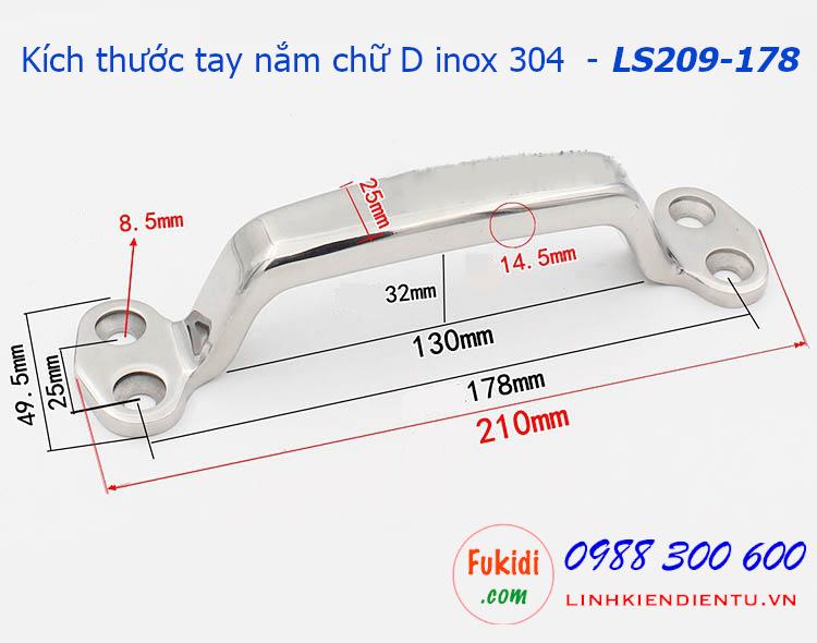 Tay nắm chữ D inox 304 chiều dài 178mm - LS209-178