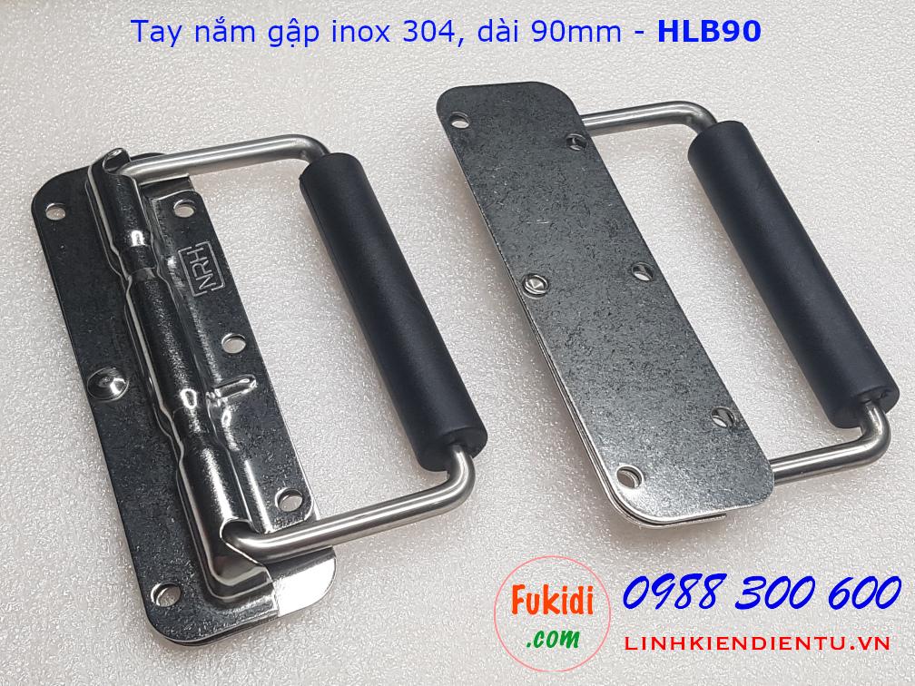 Tay nắm gập, quai xách hộp dụng cụ chất liệu inox 304 tải trọng 50kg dài 90mm - HLB90