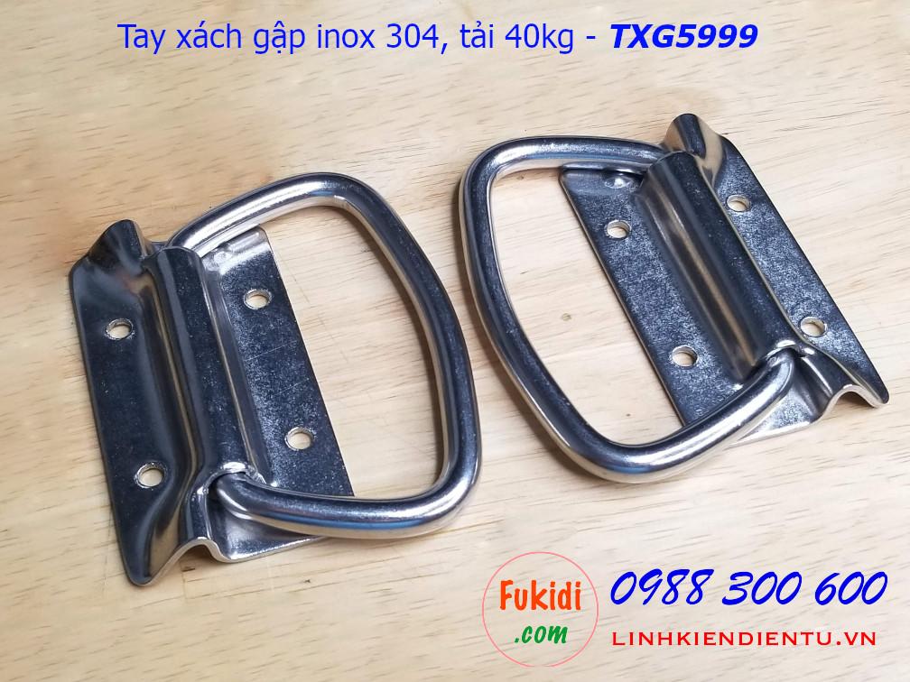 Tay xách gập inox 304 phi 9mm kích thước 59x99mm - TXG5999