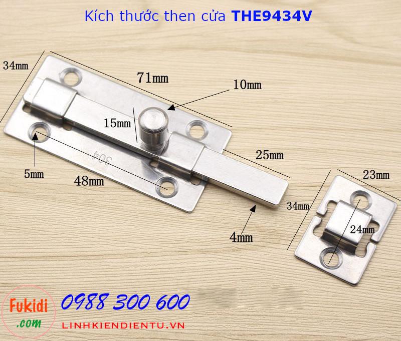 Then cửa inox 304 thân vuông kích thước 94x34mm - THE9434V