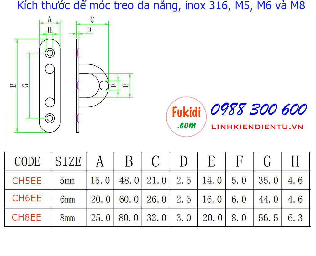 Kích thước móc treo ghế đu, xích đu, treo quạt trần inox 316 M5 - CH5EE