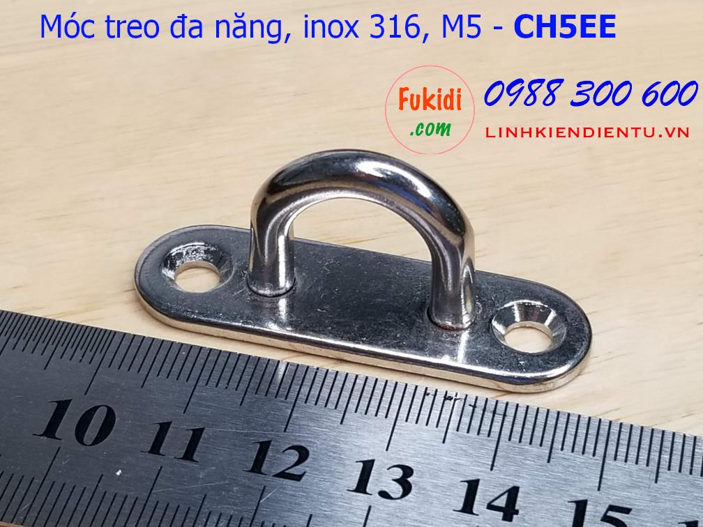 Móc treo ghế đu, xích đu, treo quạt trần hình chữ nhật bo tròn inox 316 M5 - CH5EE