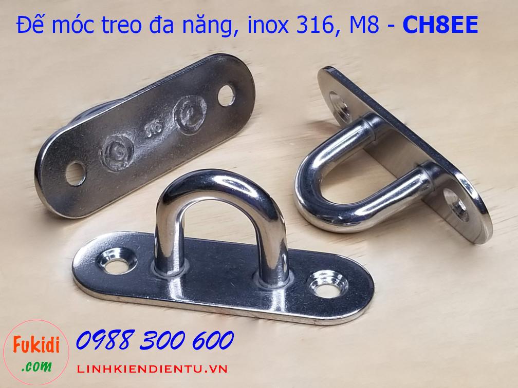 Móc treo ghế đu, xích đu, treo quạt trần hình chữ nhật bo tròn inox 316 M8 - CH8EE