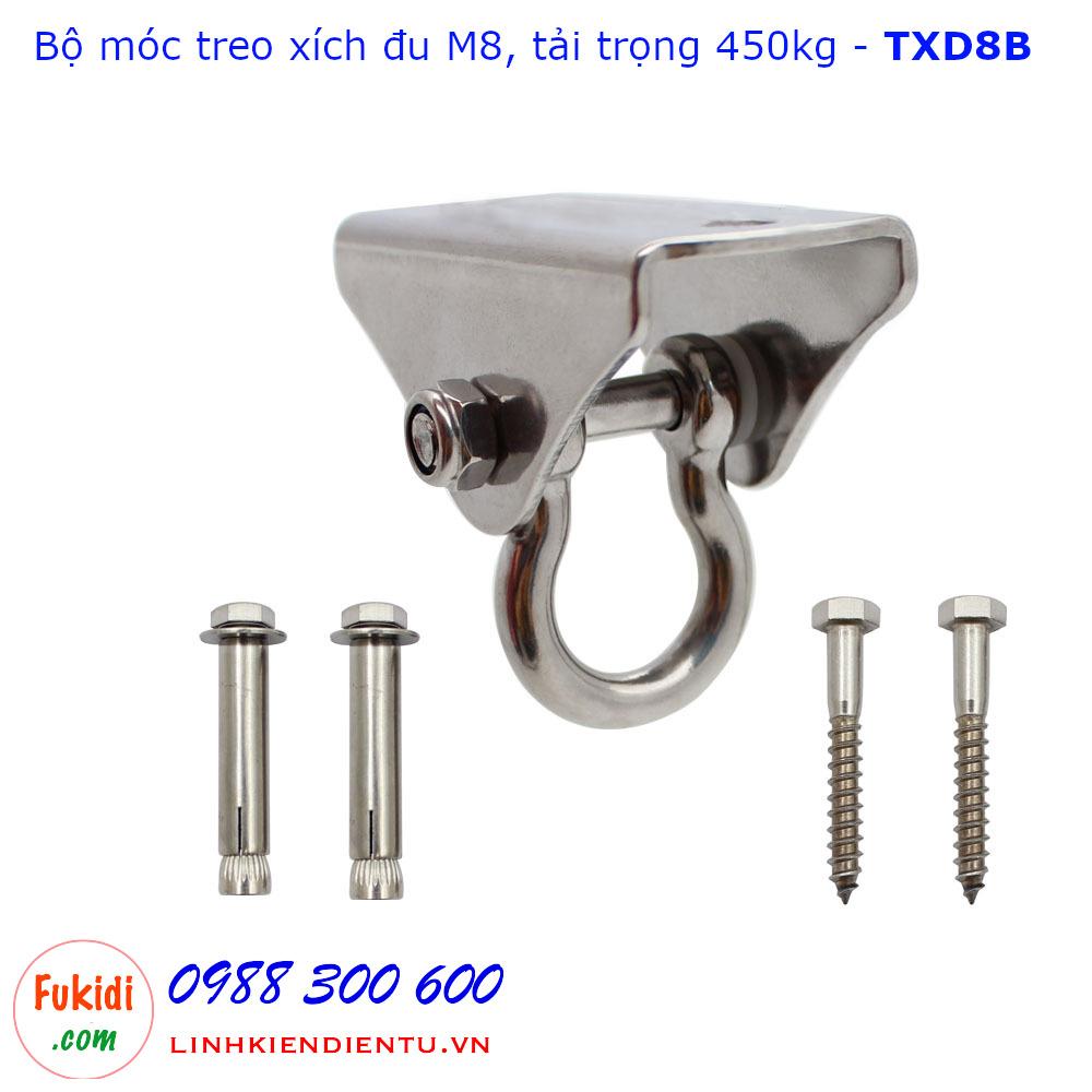 Bộ móc treo xích đu inox 304 M8 móc bầu, kích thước 90x41x70mm - TXD8B