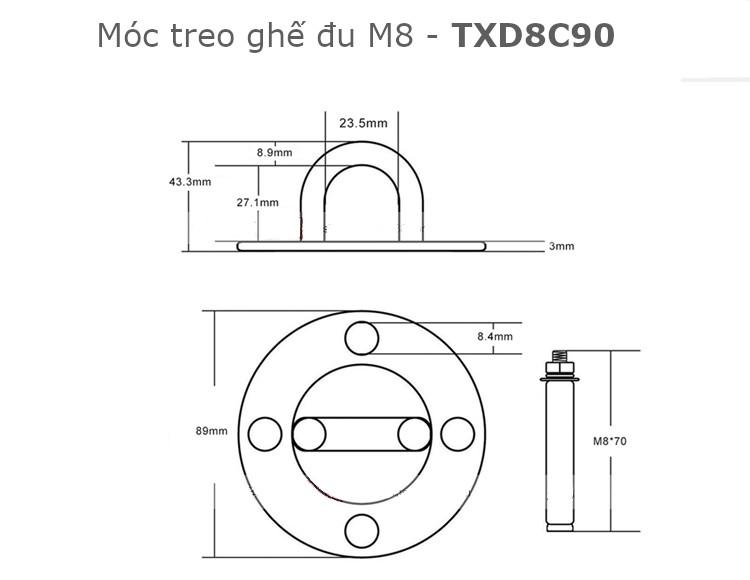 Móc treo xích đu, treo ghế đu, treo võng, M8 đế tròn 90mm tải 500kg inox 304 - TXD8C90
