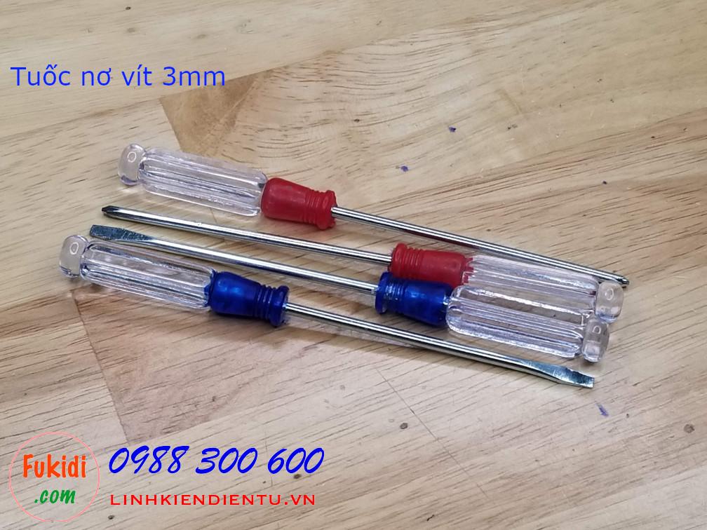 Tuốc nơ vít 3mm đầu dẹp và đầu chữ thập, chiều dài 130mm, dùng vặn cho đinh 3mm