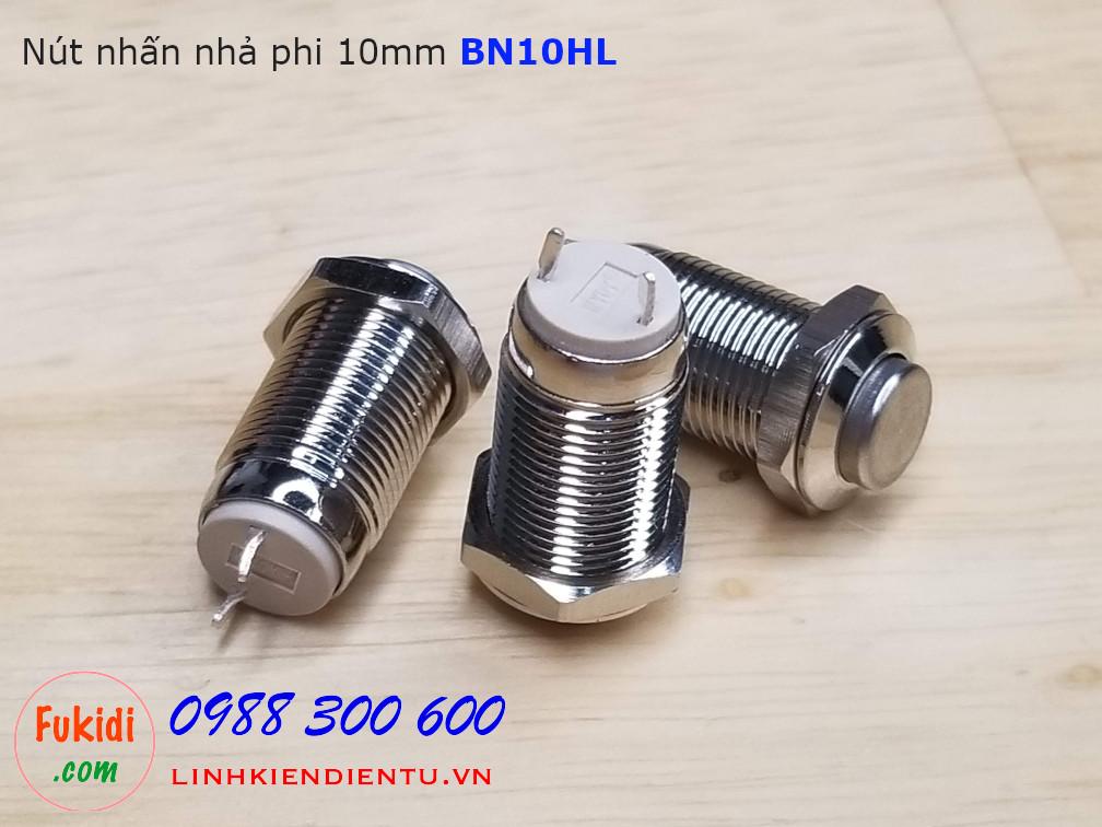 Nút nhấn nhả vỏ kim loại phi 10mm, đâu lồi - BN10HL