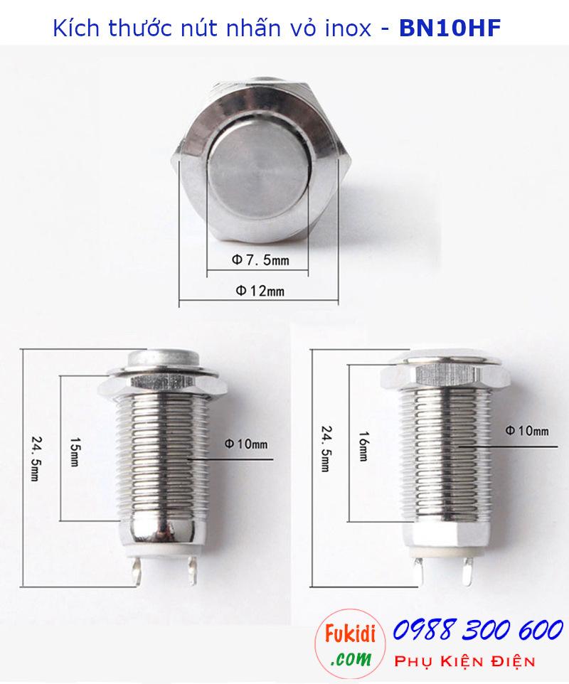 Nút nhấn nhả vỏ kim loại phi 10mm, đầu lồi - BN10HL