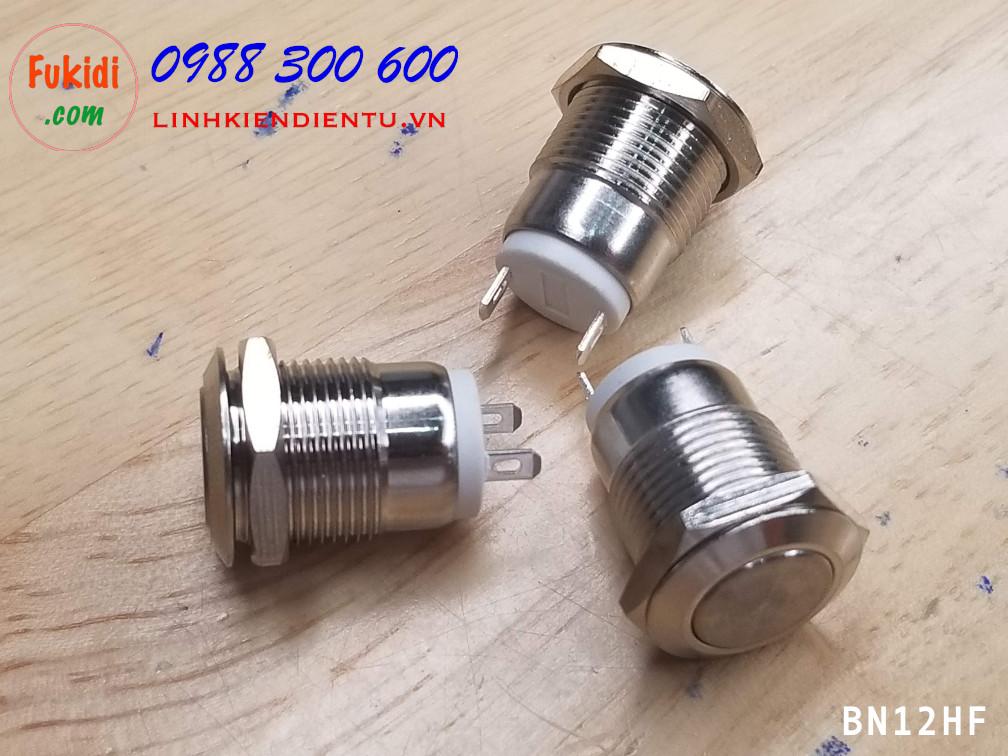 BN12HF Nút nhấn vỏ kim loại phi 12mm, chống thấm nước