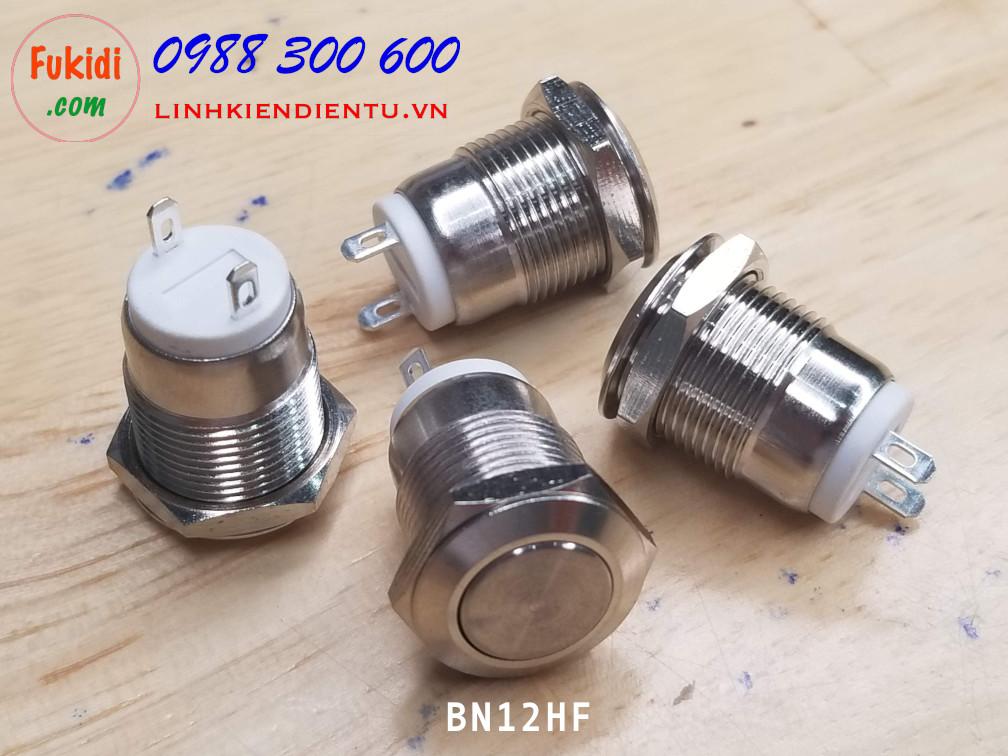 BN12HL Nút nhấn nhả vỏ kim loại phi 12mm, đầu nút cao, chống thấm nước