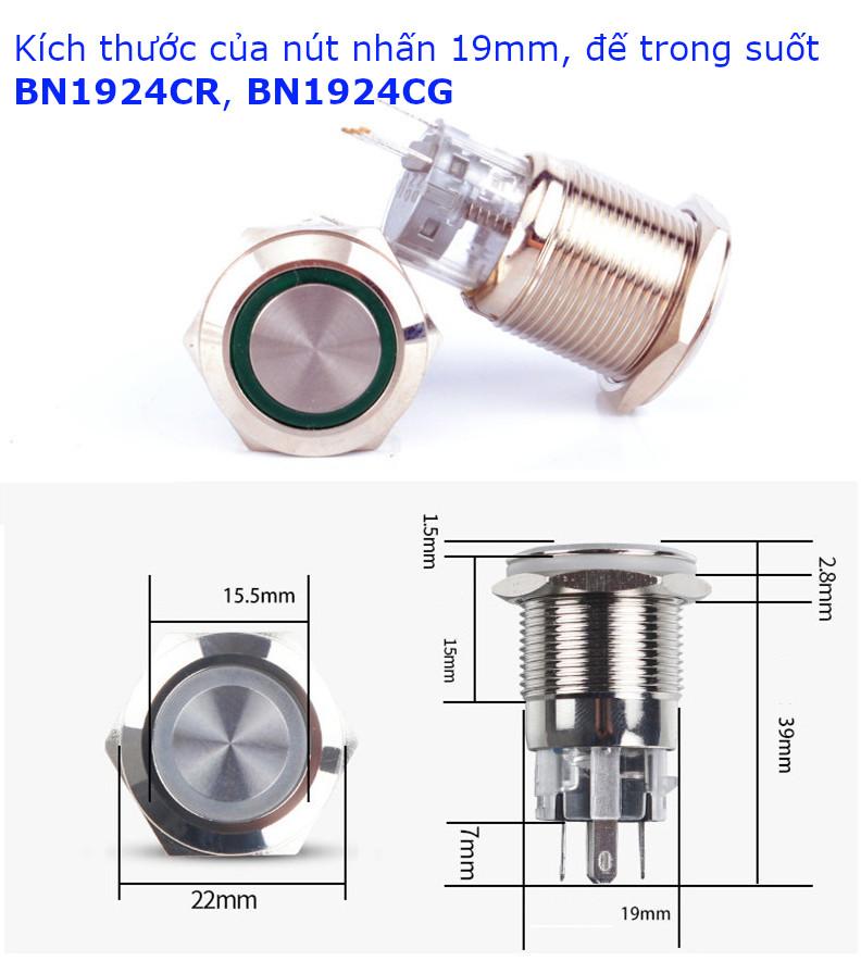 Nút nhấn nhả có đèn phi 19mm, vỏ kim loại, đế trong suốt, đèn LED xanh 24V BN1924CG